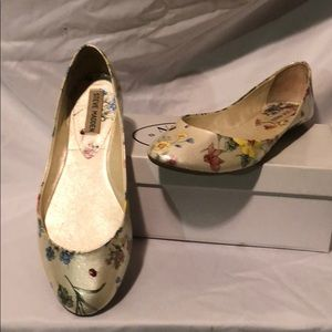 Cream Ballet flats with lady bugs and flowers